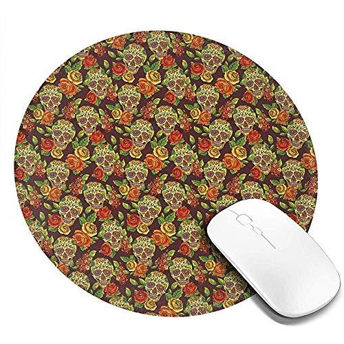 Runde Mausunterlage, Herbst farbige Blumen- und Blattmuster in den Smily Hauptknochen, rutschfeste Spiel-Mausunterlage
