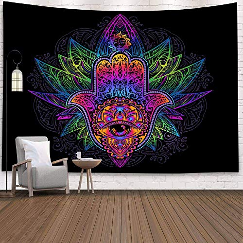 PPOU Tapiz de Calavera Mandala Tapiz Luna Sol Blanco Tapiz Negro Tapiz Hippie Decoración de Dormitorio Tapiz psicodélico A19 180x200cm