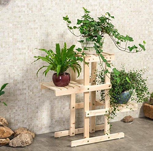 DFHHG® Porte-fleurs, balcon Bois massif Couches multiples Plantes en pot Salon d'intérieur étagère de fleurs Porte-pot à fleurs Support de fleur américain ( Couleur : #2 , taille : 72*26*66cm )