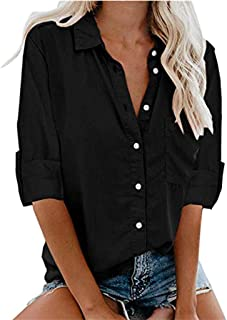 Women's Fashion Loose Brief Shirt Cool Top Casual V-Neck Full Sleeve Button Blouses
