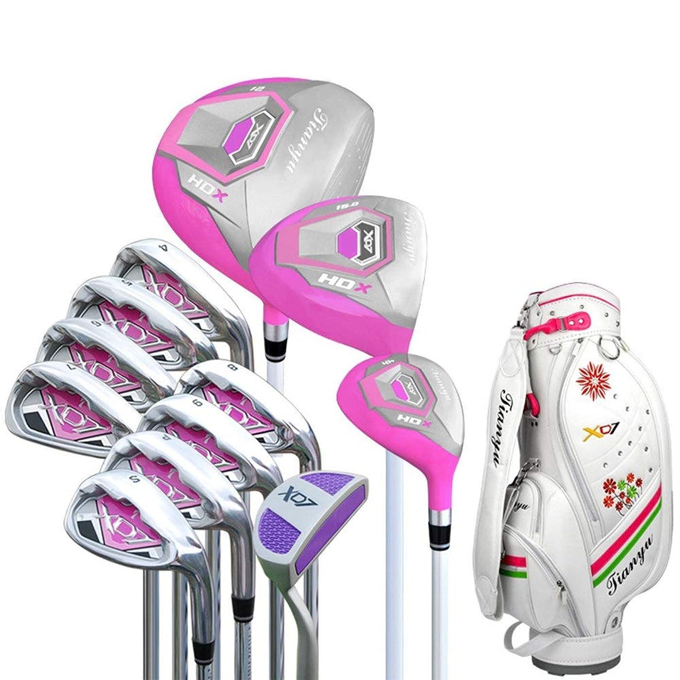 優先権擬人方向パターゴルフクラブ 女性ゴルフ初心者12ピースゴルフクラブセットピンクゴルフパターゴルフ練習クラブセット用手袋付き女性 ゴルフパター 右手右利き用 (色 : One color, サイズ : A2)