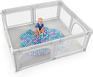ANGELBLISS lekhage baby, baby lekgaller, aktivitetscenter för barn inomhus och utomhus med halkfri bas, stabilt skyddsgall...