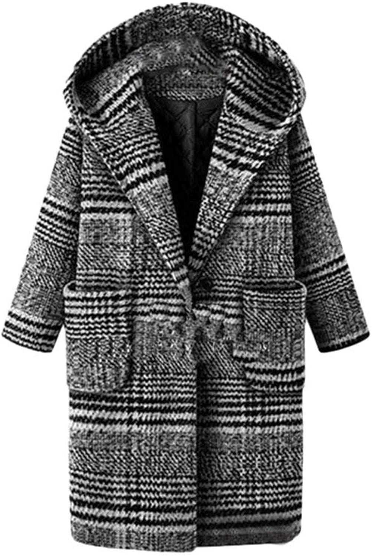 Mikkar Women Lattice Coat Warm Woolen Overcoat Plus Size Winter