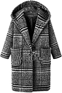 03f079b07fbdc Women Trench Coats Plaid Hooded Wool Blended Overcoat Thick Warm Pea Coats  Long Jackets