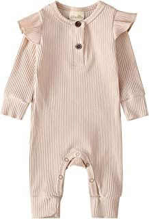 JBEELATE Unisex Baby Knit Romper Newborn Girls Boys Jumpsuit Long Sleeve Solid Button Bodysuit Clothes Outfit One Piece