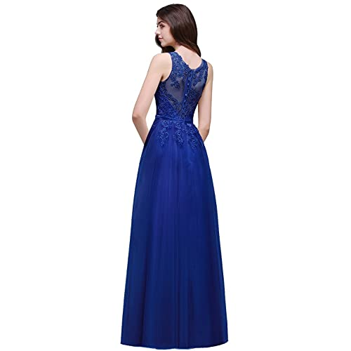 db493240cd Babyonline Women Sheer Lace Illusion Back Evening Gowns Long Ball Gala Dress