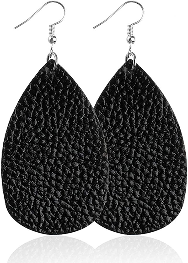 ROSTIVO Leather Earrings for Women and Girls Teardrop Leather Earrings Simple Dangle Earrings (Black)