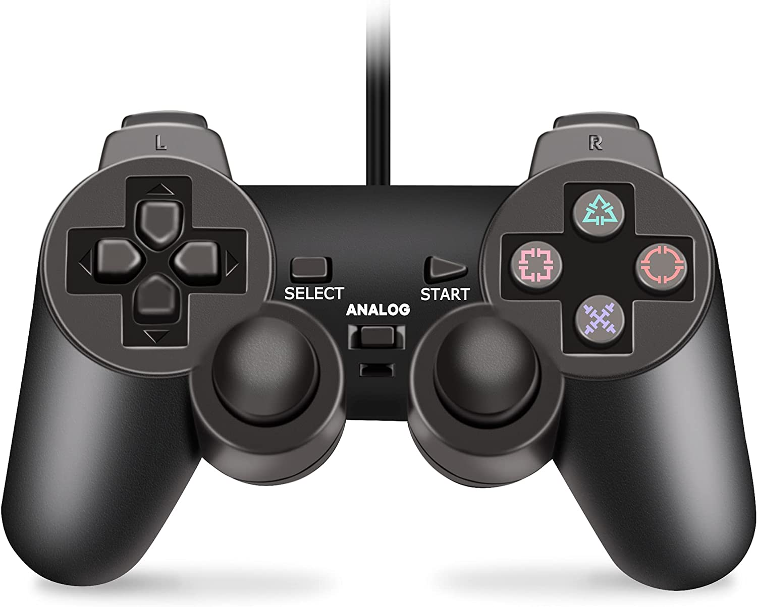 Wired Controller for PS2 Console, Dual Vibration Game Controller Gamepad Remote for Playstation 2 PS2 with Long Cable Black