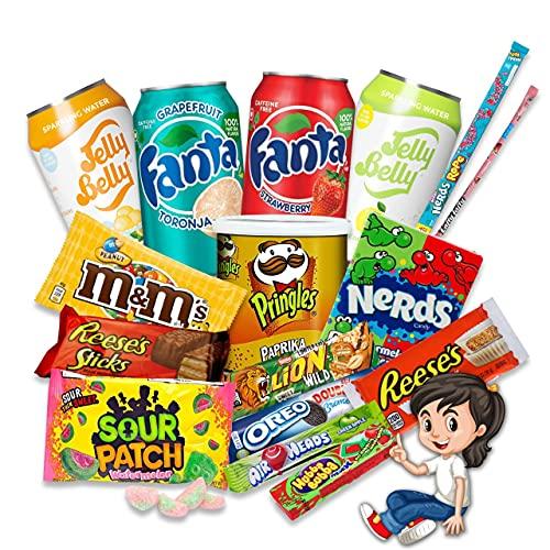 HappyLOL® 16 Teile - Süßigkeiten aus Aller Welt - Amerikanische Süssigkeiten Box Großpackung - American Candy inkl. amerikanische Getränke
