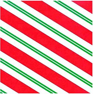 Red White Green Peppermint Stripe Christmas Gift Wrap Wrapping Paper - 15 Foot Roll