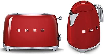 Smeg TSF01RDUK KLF01RDUK | Ensemble grille-pain 2 tranches style rétro années 50 et bouilloire en rouge