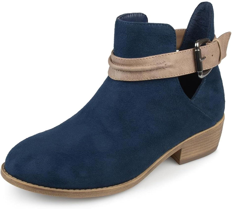 Brinley Co. Womens Myra Faux Suede Stacked Heel Booties