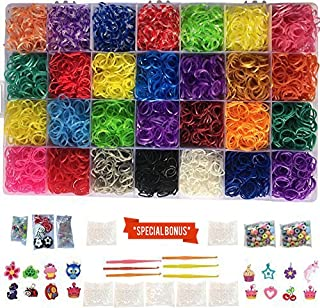 Loomy Bands 12,000 Rainbow Rubber Bands Refill Set - Loom Bands Organizer, 28 Colors, 500+ Clips, 50 Beads, 15 Charms, 4 Plastic Hooks