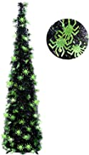 5FT Pop Up Halloween Christmas Slim Black Tinsel Tree w/Shiny Green Spider Sequin, Collapsible Artificial Pencil Halloween...