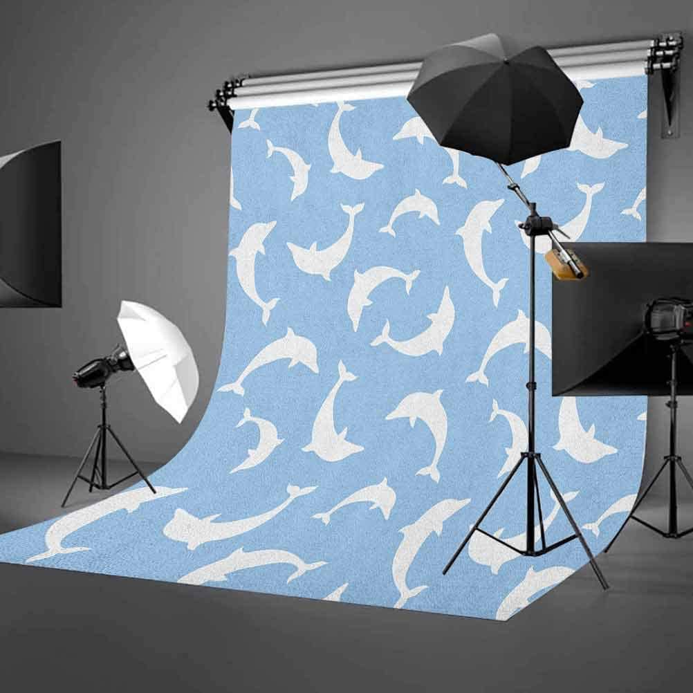 8x12 FT Fish Vinyl Photography Backdrop,Monochrome Aquatic Animals with Line Patterns Coastline Fauna Marine Elements Design Background for Baby Birthday Party Wedding Graduation Home Decoration