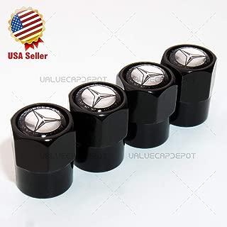 UATUO Universal Hexagon Shape for Mercedes Benz Logo Emblem Wheel Tire Air Valve Cap Stem Dust Cover Sport (Black Caps)