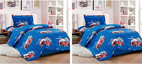 Pack of 2 Compressed Comforter 3 Piece Set for Kids Single size by Moon, Cars