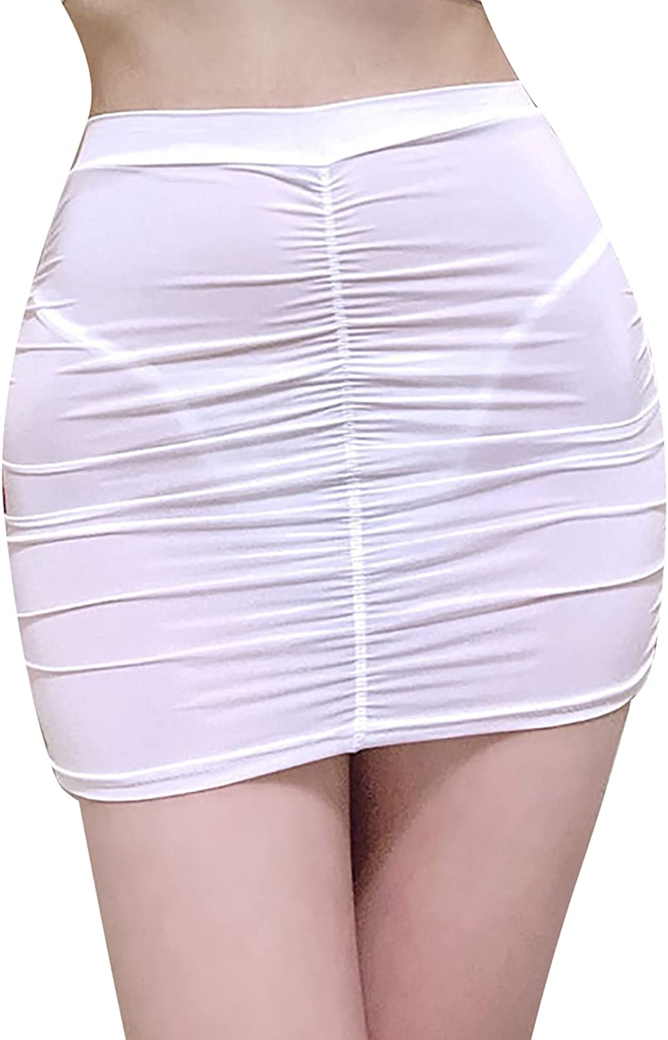 Agoky Women's Summer Casual Basic Stretchy Ruched Bodycon Pencil Tube Short Mini Skirt