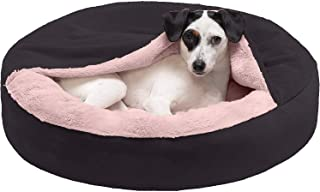 Petslover - Round Snuggery Hooded Dog Bed with Attached Blanket, Calming Anti-Anxiety Hooded Donut Bed, and More for Dogs ...