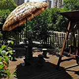 WQF Sombrilla Plegable para Exteriores, sombrilla de Paja Grande con Estilo Tropical de Hawaii, Mecanismo de inclinación de paracaídas de jardín, sombrilla de Playa, sombrilla Impermeable, 2.4M,