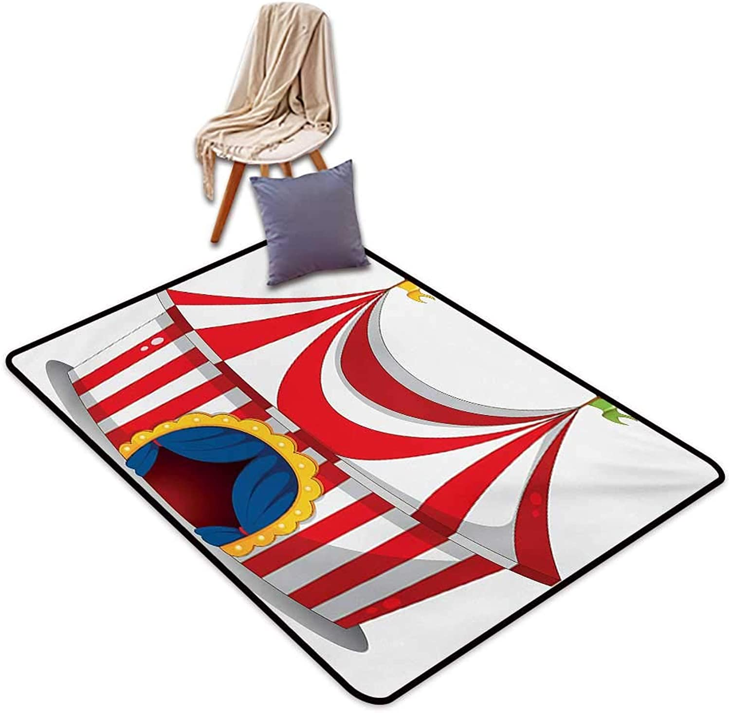Circus Large Outdoor Indoor Rubber Doormat Illustration of Retro Circus with Flag Nostalgic Fun Festival Carnival Venue Artistic Water Absorption, Anti-Skid and Oil Proof 48  Wx59 L Red White