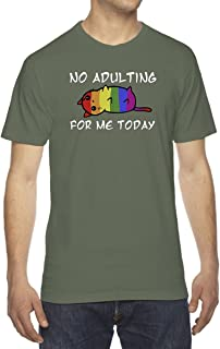 Rainbow Stripe Cat No Adulting for Me Men's Crew Neck Cotton T-Shirt