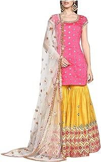 Pink and Yellow Indian Ethnic Designer Gotta Patti Work Mirror Work Handwork Silk Sharara Suit Salwar Kameez Flairy Bollywood Suit 8396 …