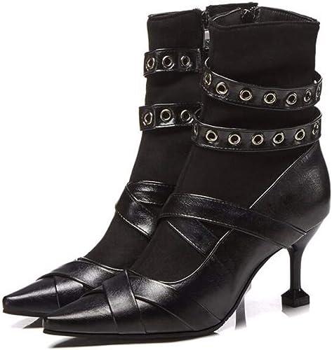 HBDLH Chaussures pour Femmes Martin des Bottes des Chaussures pour Femmes D'épaisseur Et De Peu De Bouteilles Rivets avec D'épais Bas 7Cm Bottes d'hiver.