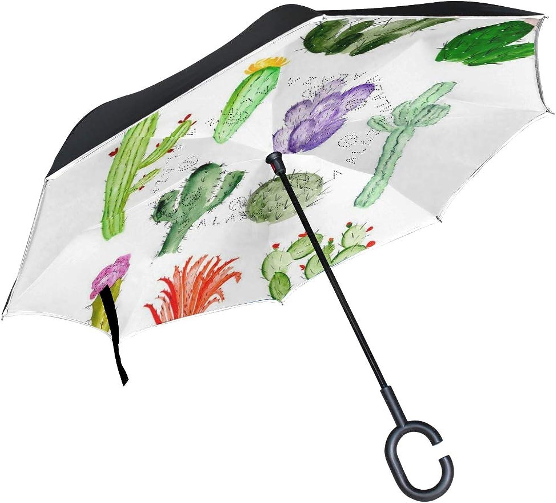 Ingreened Umbrella Cactus Succulents Reverse Umbrella UV Predection Windproof for Car Rain Sun Outdoor Black
