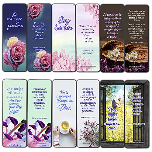 Spanish Devotional Bible Verses for Women Bookmarks (30 Pack) - Handy Life Changing Bible Texts and Quotes That are Very Uplifting Perfect for Daily Devotional for Women