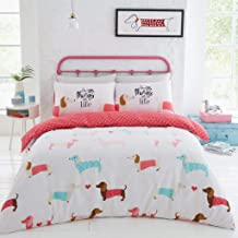 Gaveno Cavailia Luxurious Sausage Dog Bed Set with Duvet Cover and Pillow Cases, Polyester-Cotton, Pink, Double