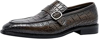 Mens Monk Shoes Leather Classic Crocodile Pattern Monk Strap Buckle Slip On Loafers Smart Casual Formal Wedding Shoes Blac...