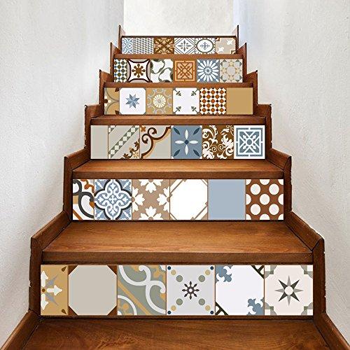 Pegatinas De Escalera De Azulejos De Mosaico De Estilo Árabe Personalidad Pasillo Escaleras Decoración Pegatinas De Piso Extraíbles 100 Cm * 18 Cm * 6 Piezas