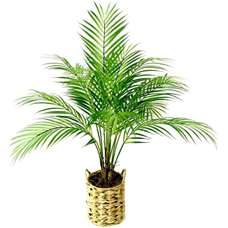 Set Of 2 Artificial Palm Tree In Plastic Pot Potted Fake Greenery Decoration With Bendable Branches For Home Restaurant Cafe Or Office Decorating Kitchen Dining