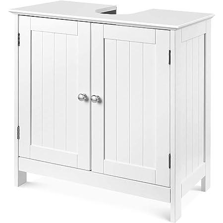 Meuble sous-Vasque Meuble sous-lavabo avec 2 Portes Meuble de Salle de Bain sur Pied réglable pour Cuisine de Salle de Bain en Bois Blanc 60x30x60cm