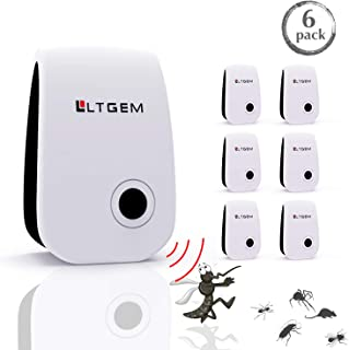 LTGEM Ultrasonic Pest Repeller - Newest Electronic Vermin Control Ultrasonic Repellent Indoor Plug Against Mosquitoes, Mice, Spiders, Ants, Rats, Roaches, Bugs (Non-Toxic for Humans & Pets) (6 Packs)