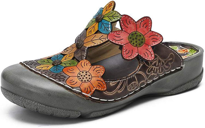 Hoxekle Woman's Retro Flower Handmade Slides Wedge Flip Flop Platform Clogs Closed Toe Comfort Sandals