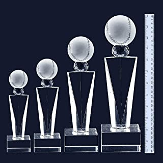 West East Imports Customize Laser Engraving Crystal Glass Baseball Trophy Award Includes Base for Engraving