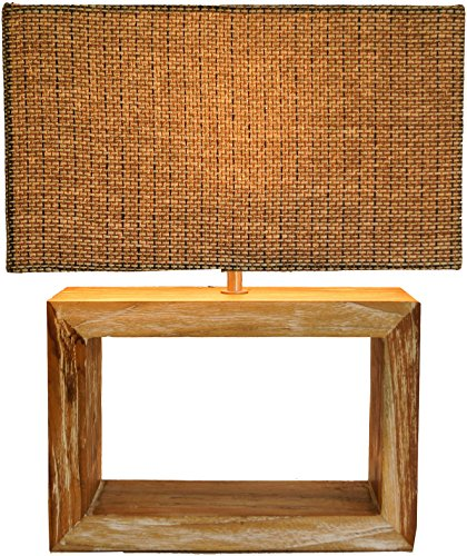 Guru-Shop Tafellamp/Tafellamp, Handgemaakt, Voet in Gerecycleerd Hout, Lampenkap in Geweven Stof - Deweso Model, Bamboe, 43x36x19 cm, Tafellampen van Natuurlijke Materialen