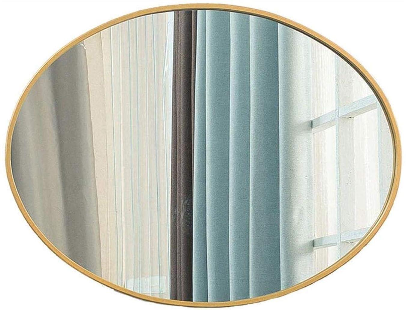 メトロポリタン拒否ホテルZYL-YL 表装飾ミラー品質メタルフレームをドレッシング-Mirrorsバスルームの装飾家具オーバル浴室ミラーメイクシェービングウォールミラー品質のホームは、ウォールミラー70x40cmをマウント