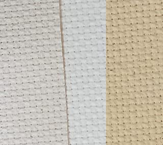 """12"""" x 18"""" by 3 Pack 14CT Counted Cotton Aida Cloth Cross Stitch Fabric (Natural Antique White+Ecru+Light Straw)"""