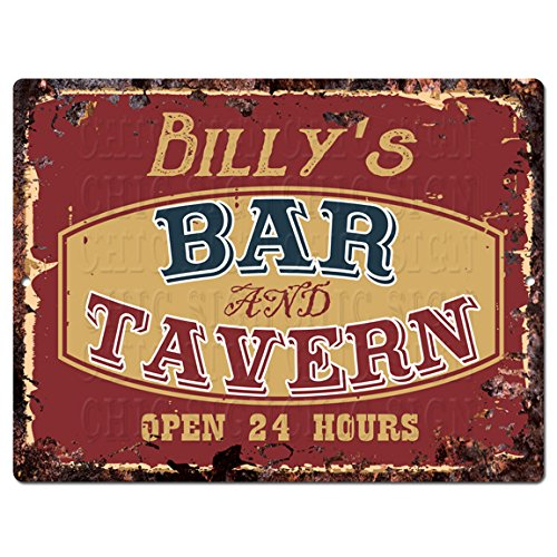 Chic Sign BILLY'S BAR and TAVERN Tin Rustic Vintage style Retro Kitchen Bar Pub Coffee Shop Decor 9'x 12' Metal Plate Sign Home Store man cave Decor Gift