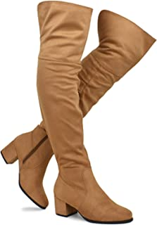ca5d11390 Premier Standard - Women's Over The Knee Stretch Boot - Trendy Low Block  Heel Shoe -