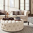 SIGNAL HILLS Knightsbridge Beige Linen Tufted Scroll Arm Chesterfield Sofa #1