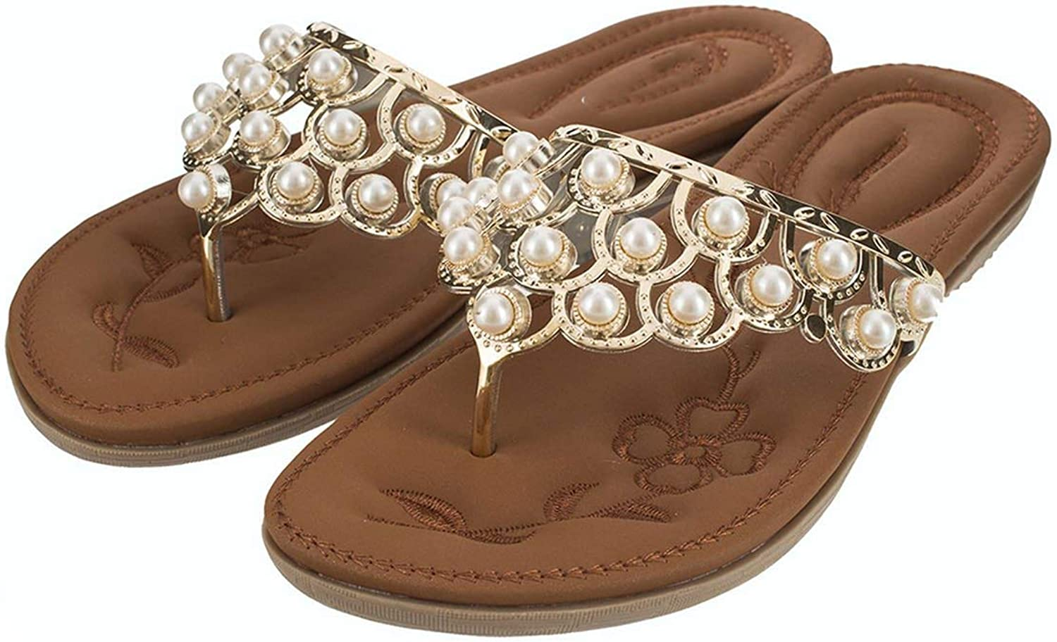 Four- Solid String Bead Outside Women Slippers Classics Leisure Flat Flip Flops Open Toe Soft shoes