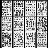 Plantillas de letras,Plantillas reutilizables para diario, plantillas para dibujo de niños (12 piezas)
