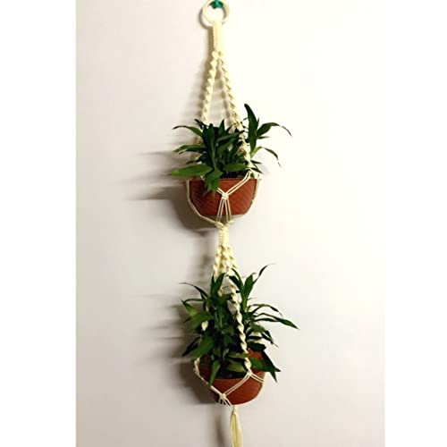 Jbppsy Macrame Double (2) Plant Hanger Indoor Outdoor - Hanging Planter 4 Legs, 40 inches