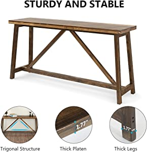 Tribesigns 59 Inches Extra Long Rustic Console Table, Solid Wood Entry Table, Sofa Table for Living Room, Entryway & Balcony, Brown
