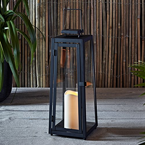 Lights4fun LED Metall Solarlaterne mit Kerze 39,5cm hoch Außenbereich