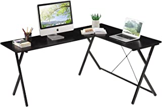 HOME BI L-Shaped Computer Desk PC Laptop Gaming Table Corner Office Study Writing Table Workstation for Home Office, Black